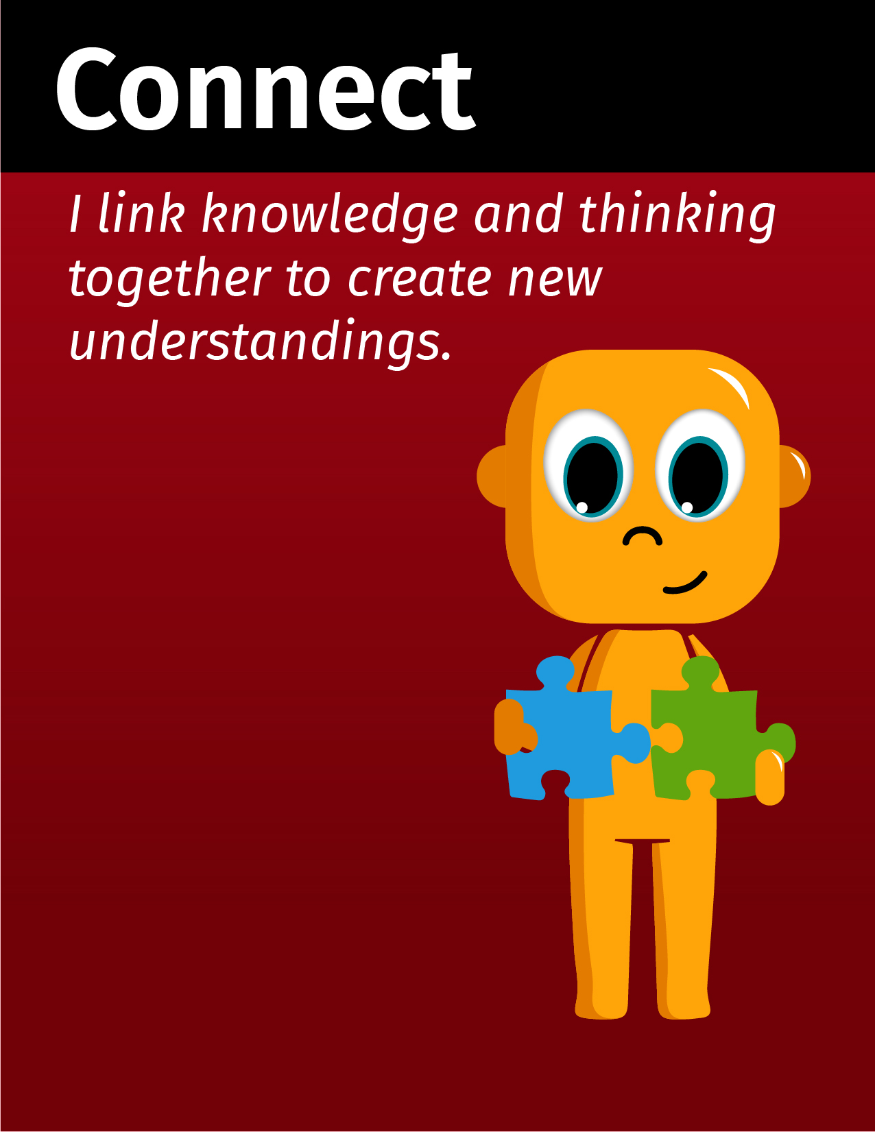 Graphical Learner connecting and stating I link knowledge and thinking together to create new understandings.
