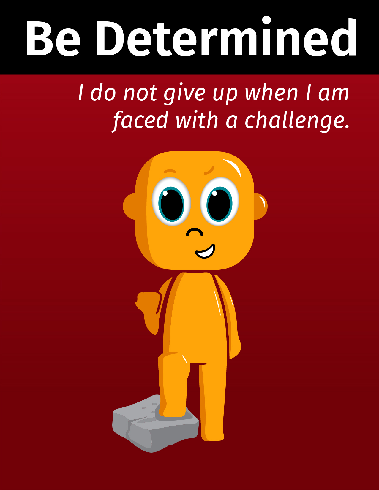 Graphical Learner being determined and stating I do not give up when I am faced with a challenge.