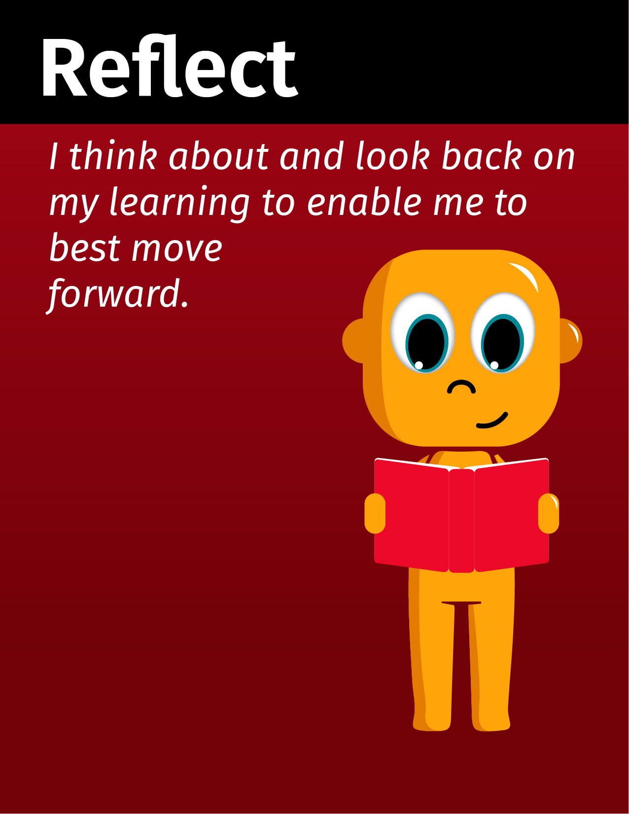 Graphical Learner reflecting and stating I think about and look back on my learning to enable me to best move forward